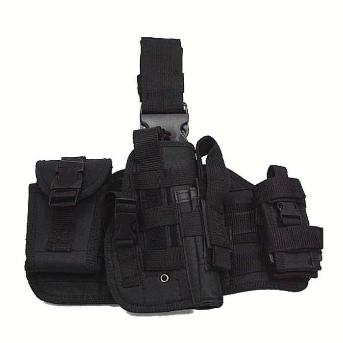 Molle Platform Drop Leg Holster Modular with MOLLE Pouches Mag BK