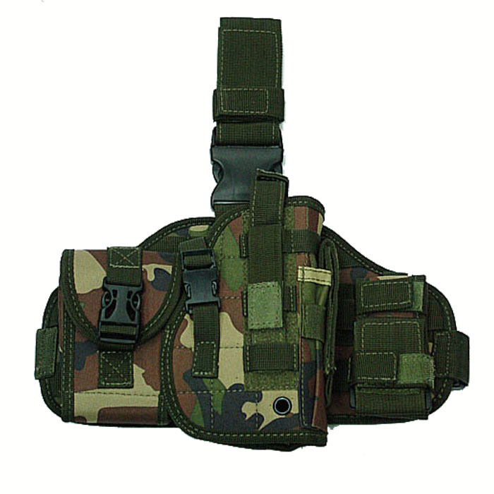 Molle Platform Pistol Drop Leg Holster with Gun Pouches Mag CL Camo