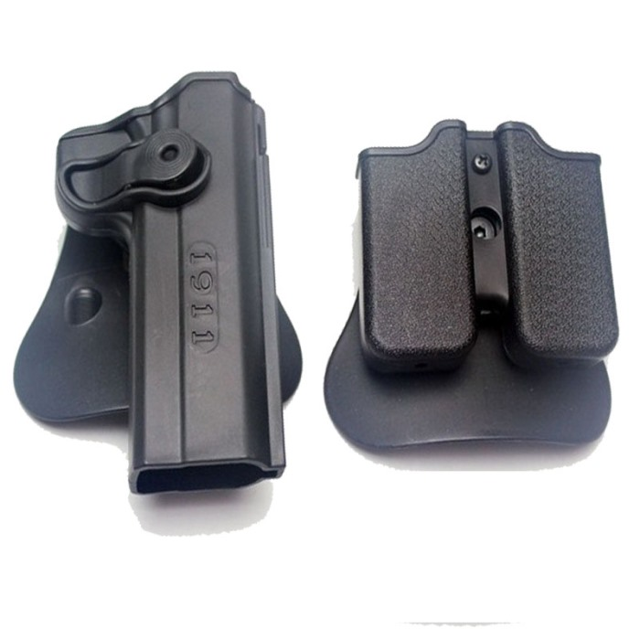 IMI Defense Roto Colt 1911 Holster & Double Magazine Pouch BK