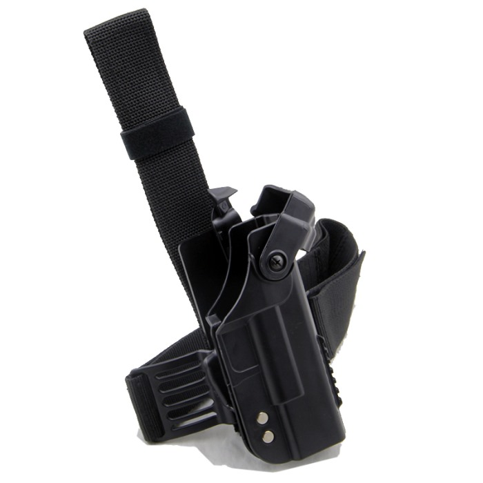 Double Security Glock Pistol Drop Leg Gun Holster Adjustable Belt BK