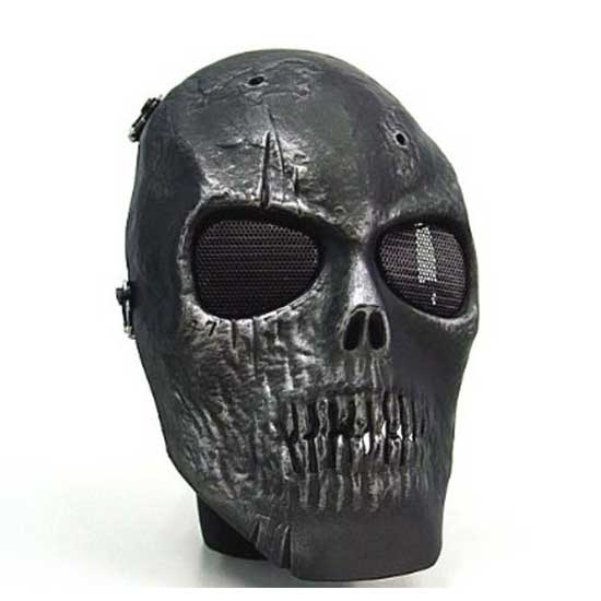 Army of Two Airsoft Full Face Skull Type Mask Silver Black