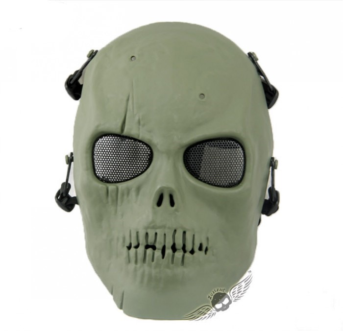 Skull Army Tactical Full Face Mask Skeleton Mask Hunting Party GREEN