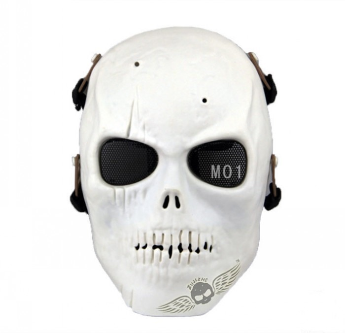 Skull Army Tactical Skull Skeleton Full Face Mask Paintball White