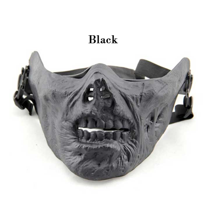 Cool Gear Tactical Airsoft Half Face Skull Mask Multifunction BK