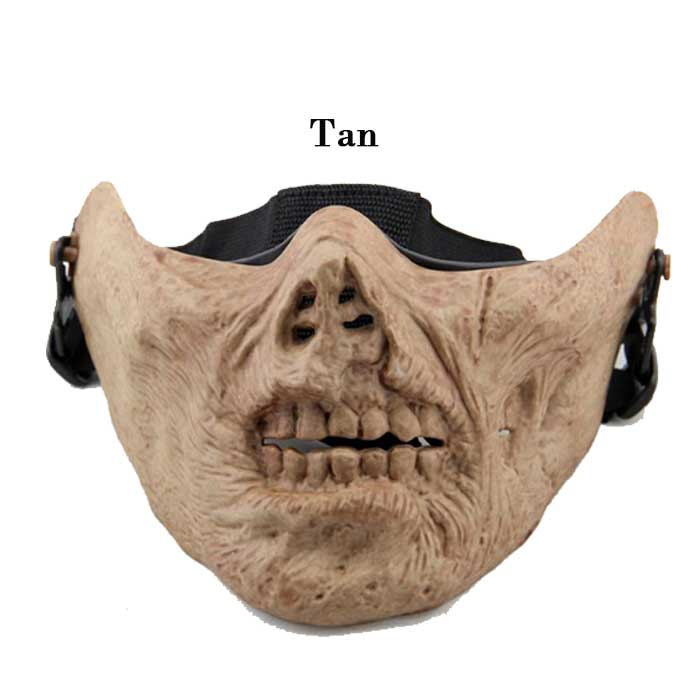 Cool Gear Tactical Airsoft Half Face Skull Mask Multifunction TAN