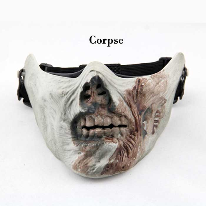 Cool Gear Multifunction Airsoft Half Face Skull Mask Cosplay Corpse