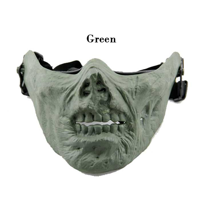 Cool Gear Multifunction Airsoft Half Face Skull Mask Party Green