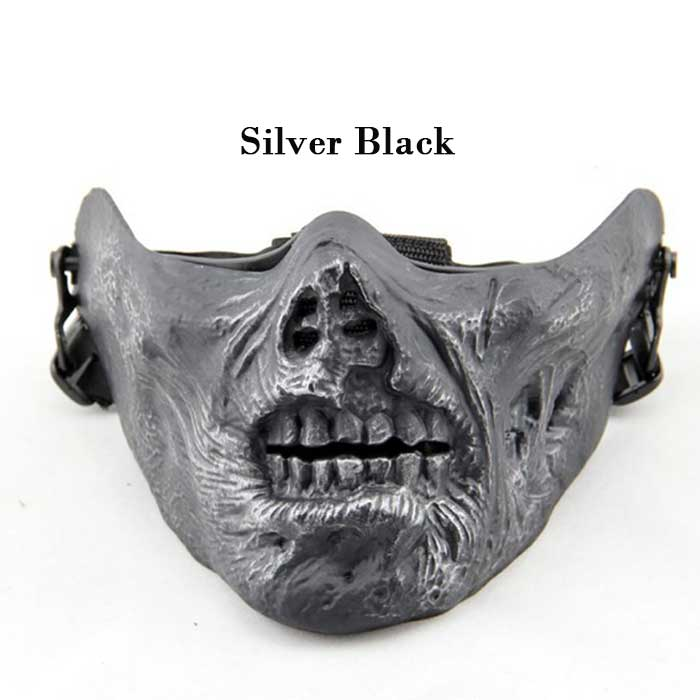 Cool Gear Airsoft Half Face Skull Mask Halloween Party Sliver Black