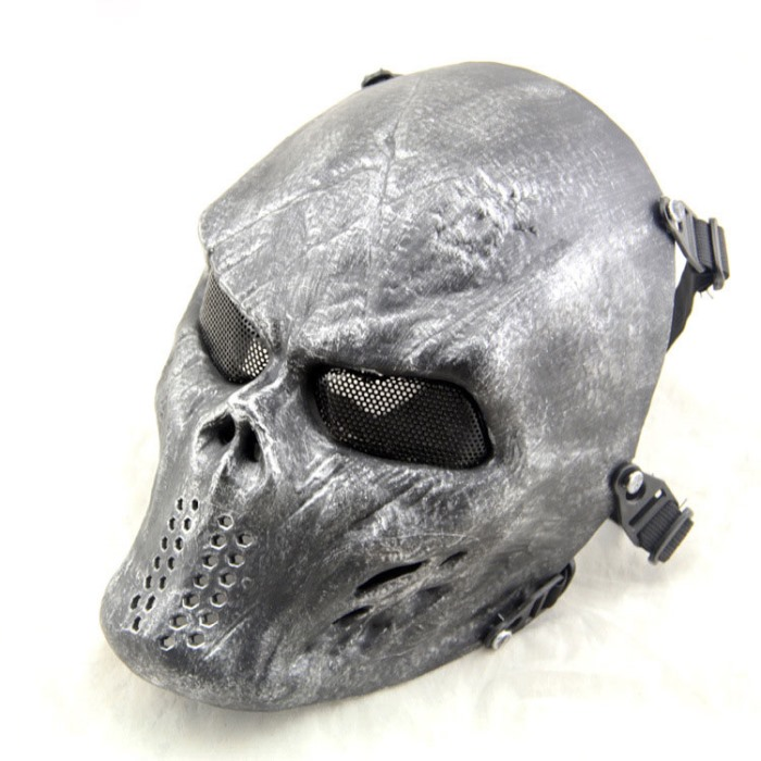Typhon Camouflage Tactical Skull Full Face Protect Mask Sliver Black