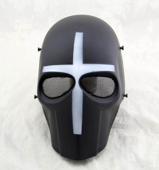 DC Tactical Gear Full Face Protection Cacique Mask Smiley Mask WH - Click Image to Close