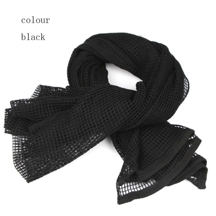 Multi Tactical Camouflage Scarf Sniper Cover Mesh Neckerchief BK