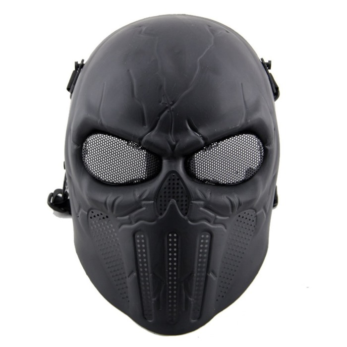 Punisher Eye Mesh Skull Full Face Mask Tactical Airsoft Masks BK