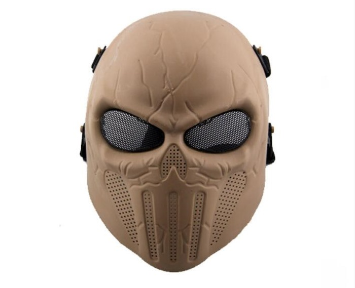 Punisher Eye Mesh Tactical Full Face Mask Cool Airsoft Mask TAN
