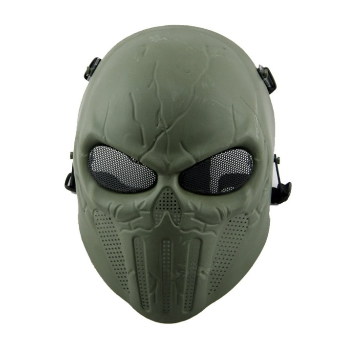 Punisher Eye Wire Mesh Skull Face Mask Airsoft Tactical Masks OD