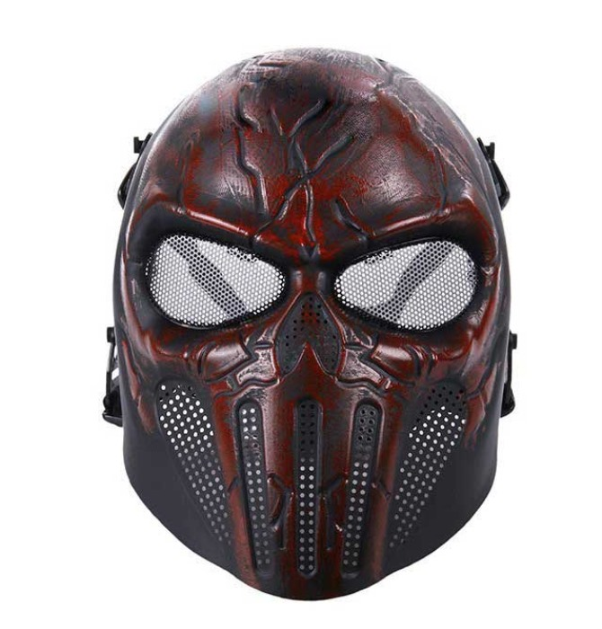 Punisher Eye Wire Mesh Tactical Full Face Mask Airsoft Mask RED