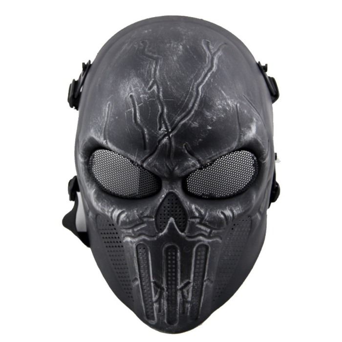 Punisher Eye Mesh Skull Face Mask Airsoft Tactical Mask Sliver Black