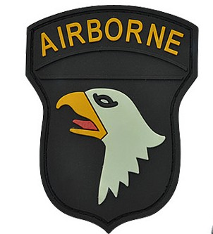 Black Airborne Flag PVC Velcro Patch