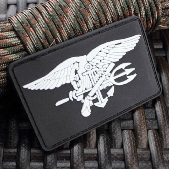 Us Navy Seal Team Trident 3D PVC Army Morale Rubber Velcro Patch BK