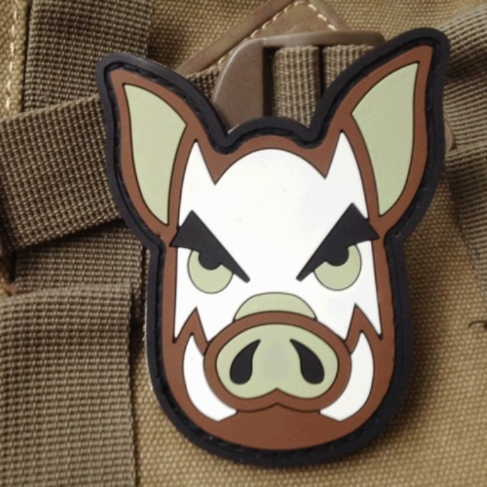 Funny Lucky Pig Army Soldiers 3D PVC Rubber Patches Velcro Badge