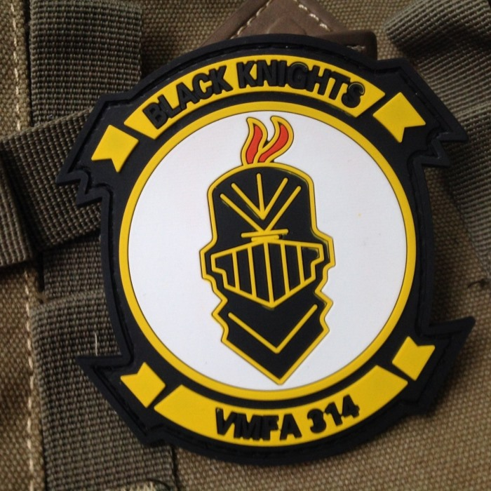 Black Knights VMF PVC Velcro Patch 3D Rubber Morale Badge