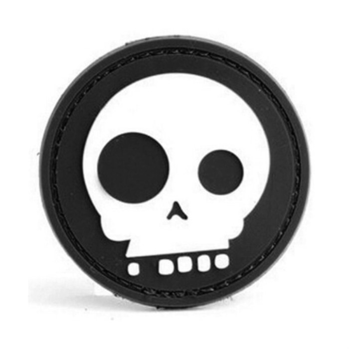 Cartoon Skull 3D PVC Velcro Patch Airsoft Rubber Morale Badge Black