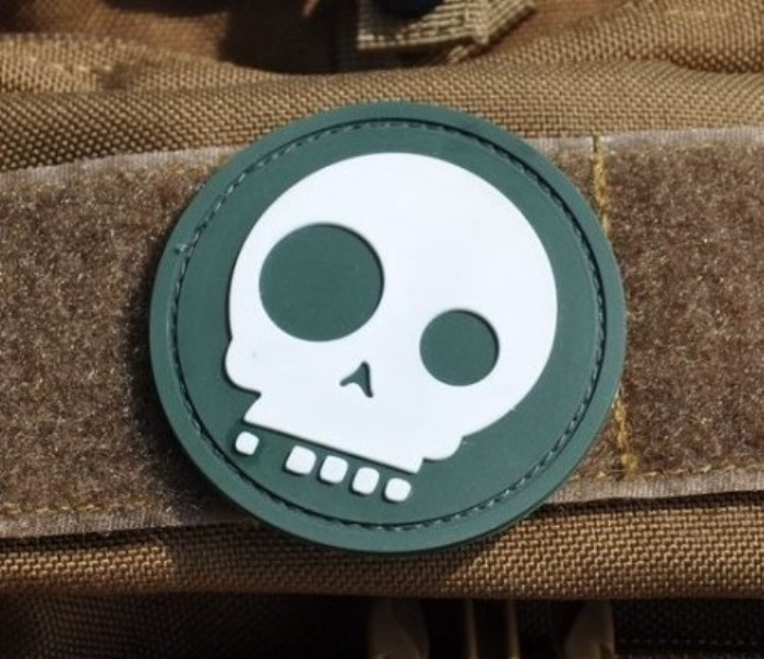 Cartoon Skull 3D PVC Velcro Patch Airsoft Rubber Morale Badge OD