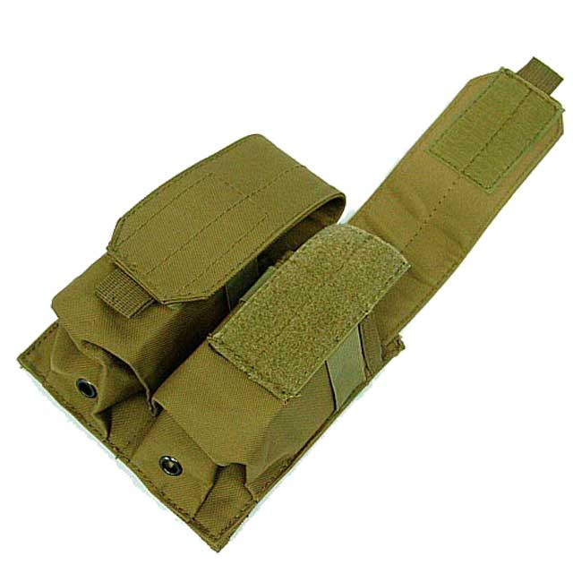Double Pistol Mag Pouch Tactical Molle Magazine M4 5.56mm Nylon DE