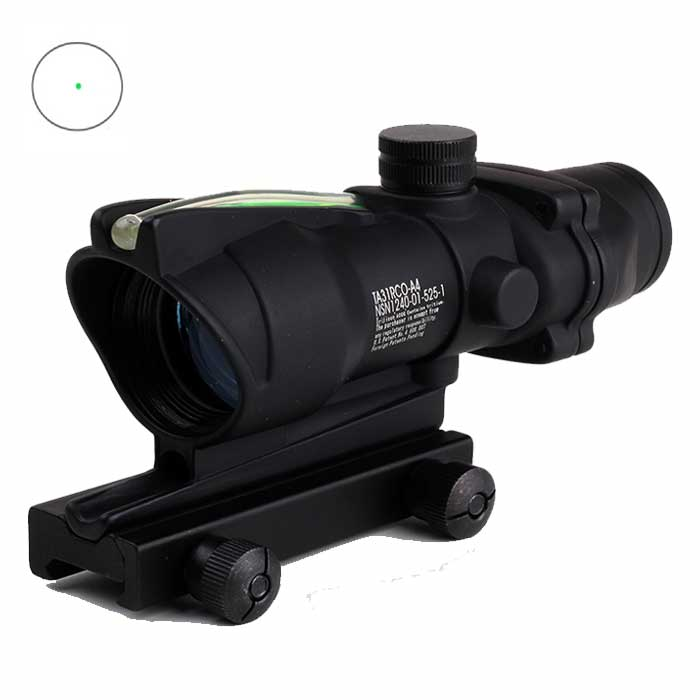 Tactical ACOG 1x32 Fiber Optics Green Dot Illuminated Sight Scope