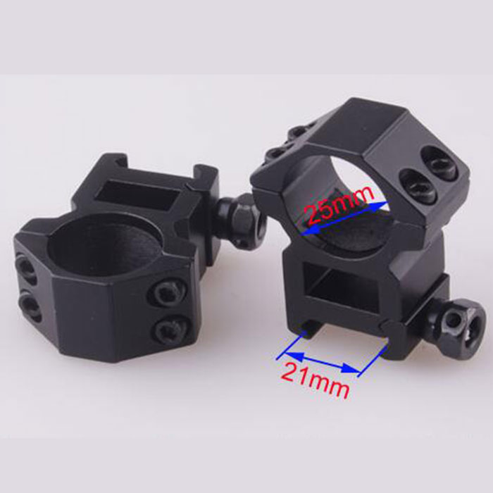 25.4mm High QD Scope Flashlight Ring Mount 2 Screw 21mm RIS Rails