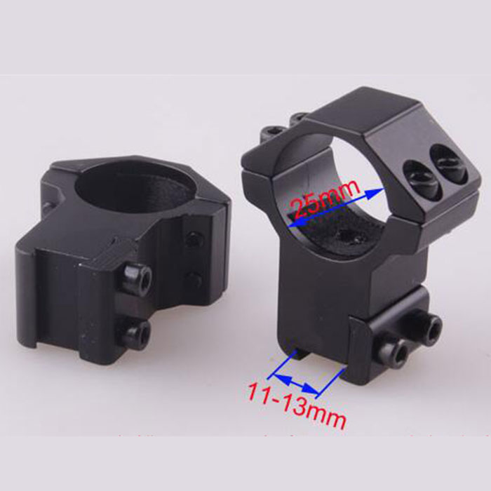 25.4mm High QD Scope Flashlight Ring Mount 2 Screw 11mm RIS Rails