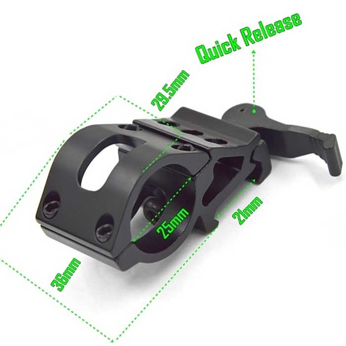 25mm Quick Release Scope Flashlight Ring Rail Mount 45 Degree 20mm R
