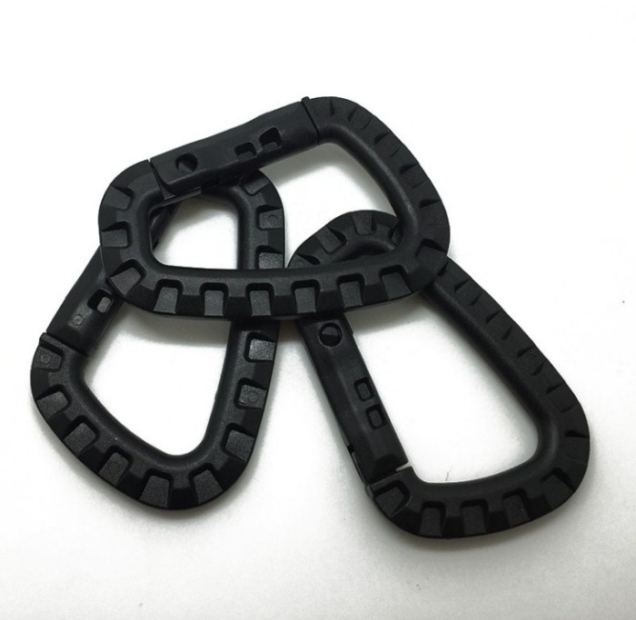 Tactical Clip Camping Hiking Plastic Carabiner D-Ring Key ChainBlack