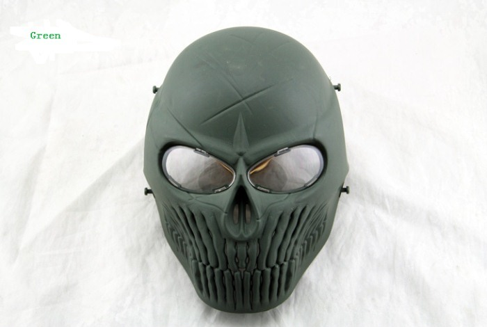 Skull Camouflage Wargame Paintball Airsoft CS Full Face Mask Green