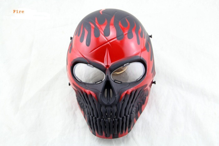 Skull Camouflage Wargame Paintball Airsoft CS Full Face Mask Red