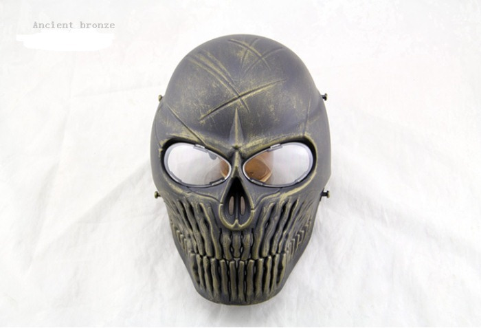 Skull Camouflage Wargame Paintball Airsoft CS Full Face Mask Bronze