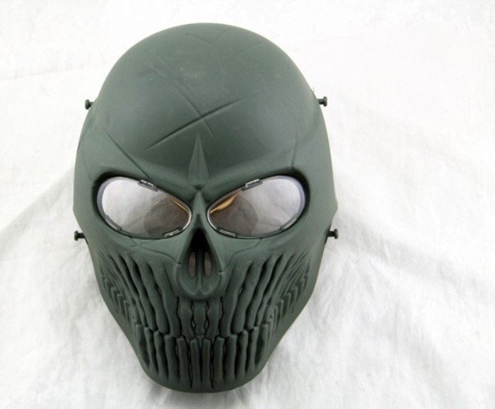 Airsoft CS Skull Camouflage Wargame Paintball Full Face Mask Green
