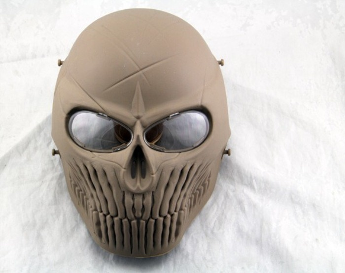 Airsoft CS Skull Camouflage Wargame Paintball Full Face Mask Tan