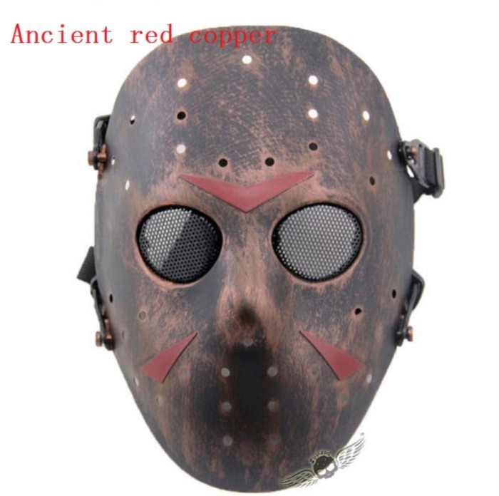 Paintball Airsoft Tactical Jungle Full Face Mask Red Bronze