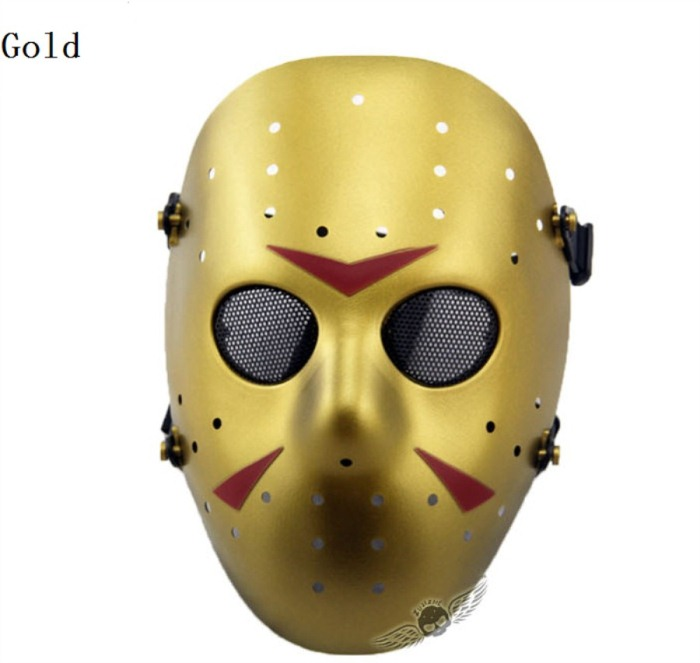Chainsaw Killer Movie Tactical Paintball Full Face Mask Gold