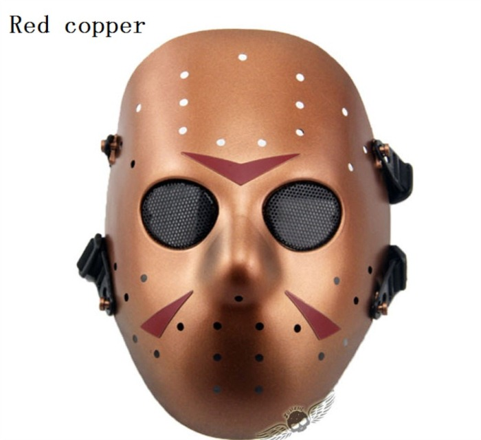 Tactical Jungle Paintball Airsoft Full Face Mask Red Copper