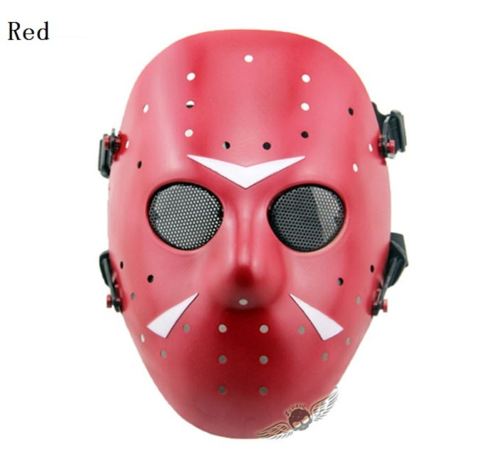 Tactical Jungle Paintball Airsoft Full Face Mask Red