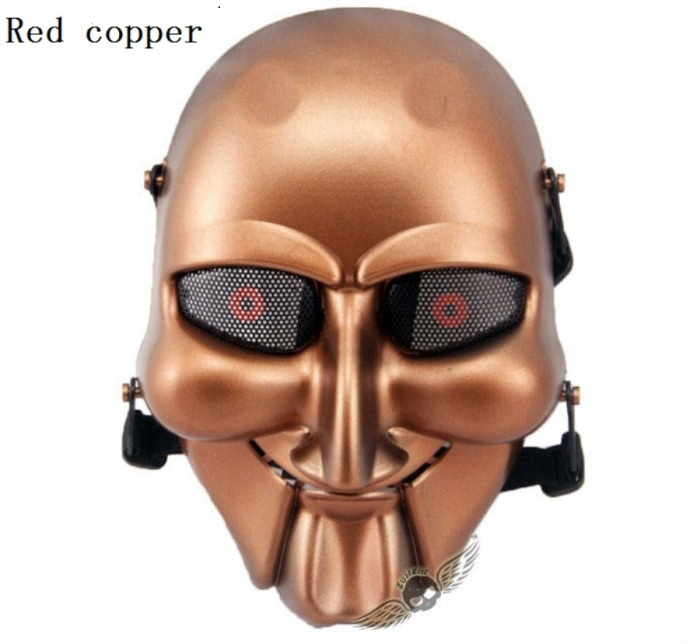 TacticalSkull Military Paintball Airsoft Full Face Masks Red Copper