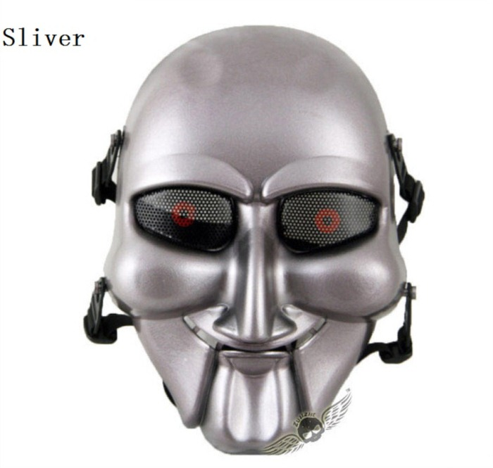 Chainsaw Killer Movie Tactical Paintball Full Face Mask Sliver
