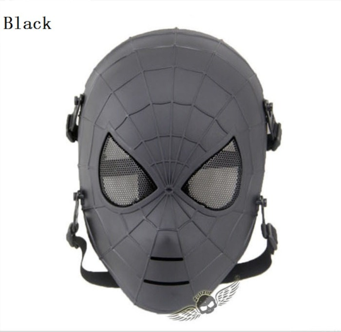 Tactical Military Army Paintball Skull Full Spider Mask Black