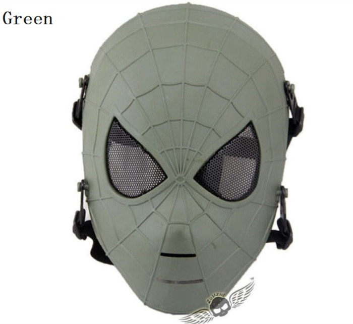 Tactical Military Army Paintball Skull Full Spider Mask Green