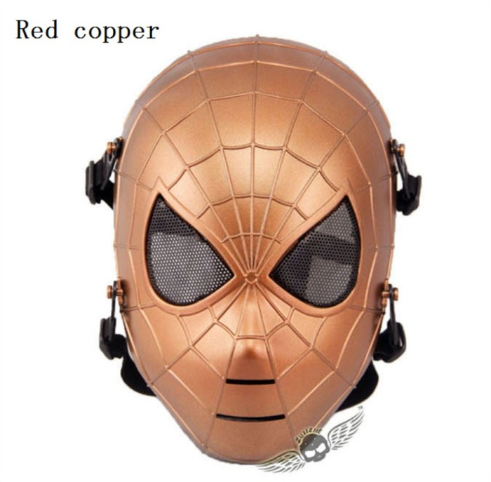 Tactical Military Army Paintball Skull Full Spider Mask Red Copper