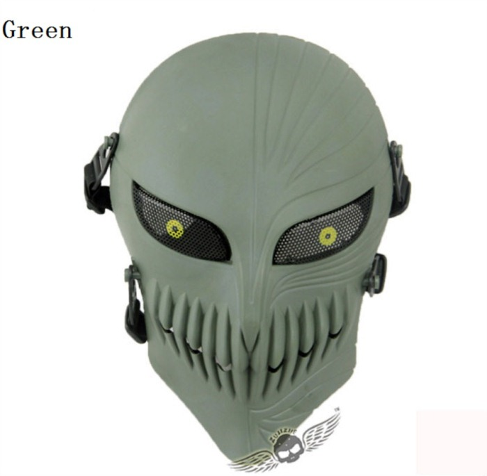 Tactical Military Army Paintball Skull Full Hunting Mask Green