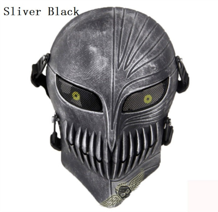 Tactical Military Army Paintball Skull Full Hunting Mask Sliver Blac