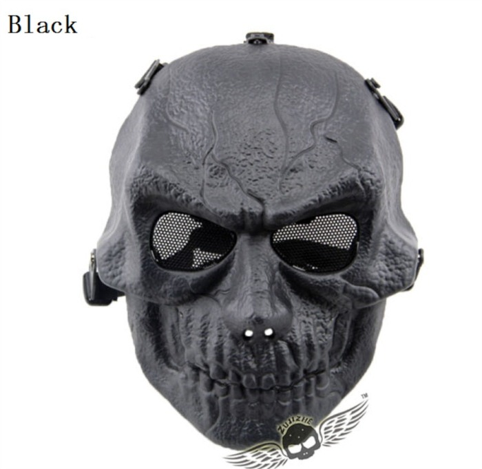Army Paintball Skull Full Hunting Tactical Military Mask Black