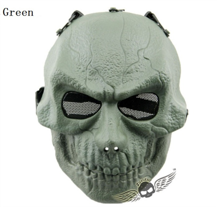Army Paintball Skull Full Hunting Tactical Military Mask Green